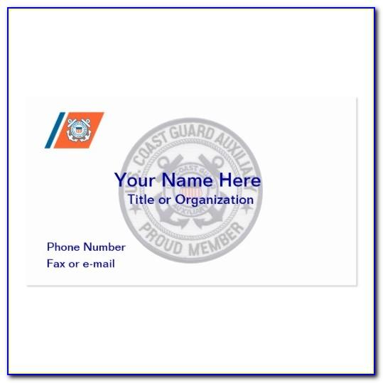 Coast Guard Auxiliary Business Card Template