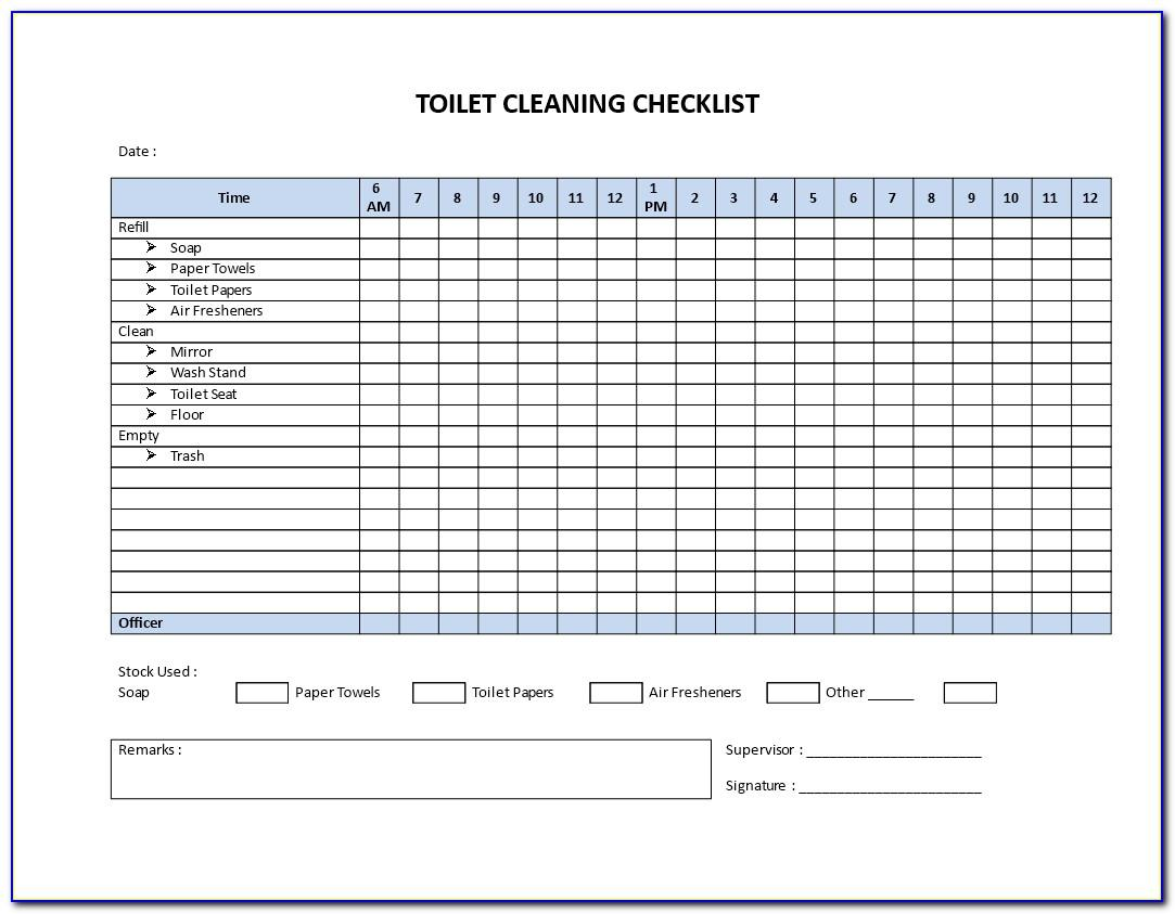 Commercial Bathroom Cleaning Checklist Template