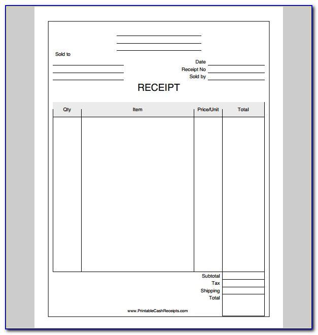 Company Receipts Sample