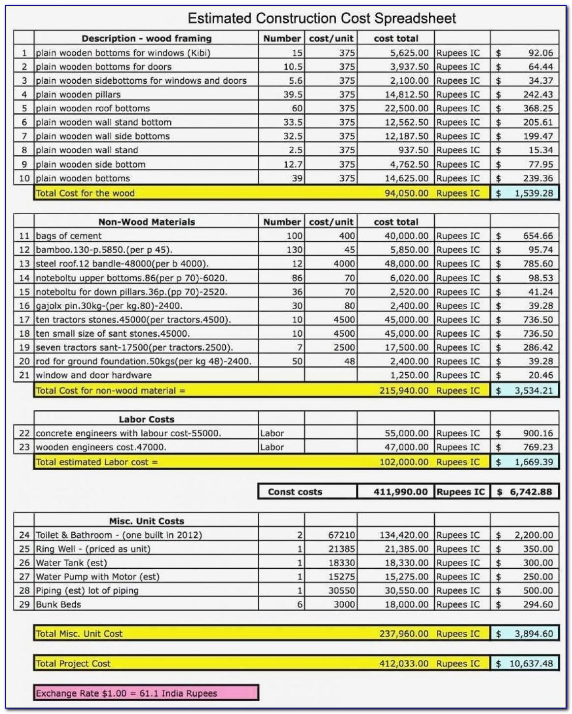 Construction Bid Comparison Template Excel