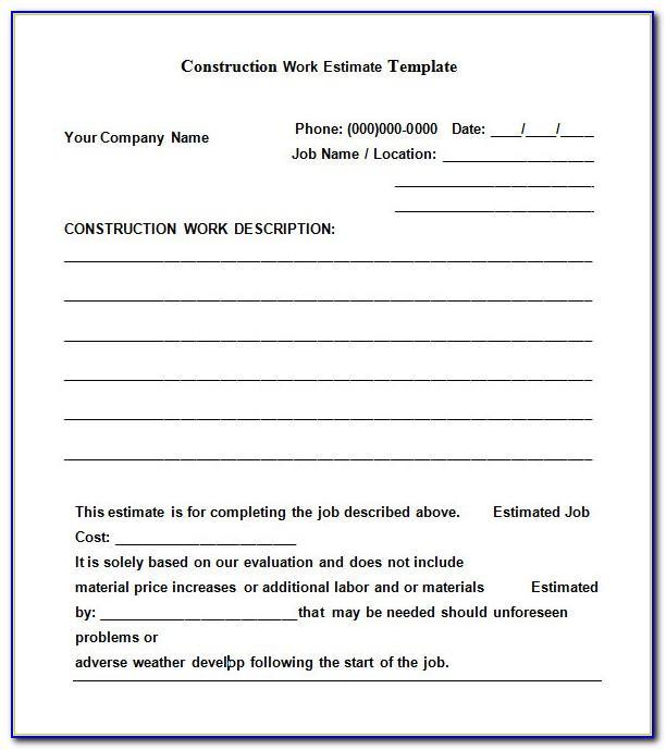 Construction Job Estimate Template Excel