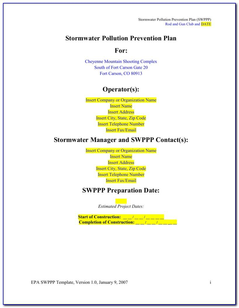 Construction Stormwater Pollution Prevention Plan Template