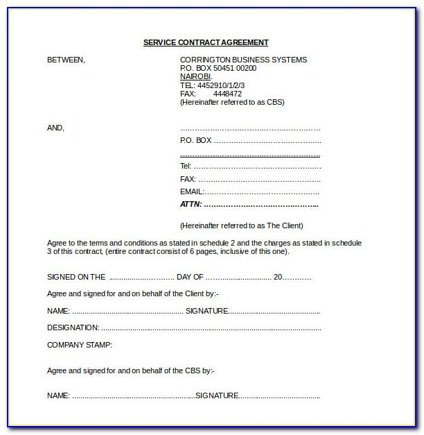 Contract Agreement Sample Word