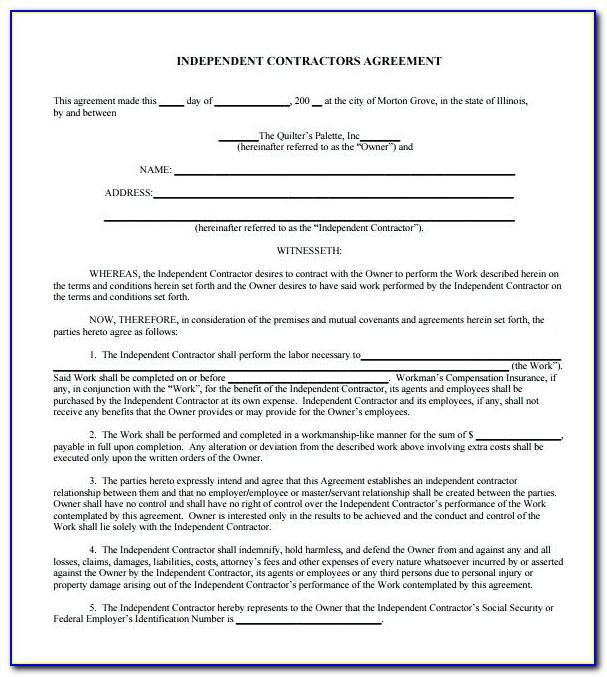 Contractors Agreement Template Free