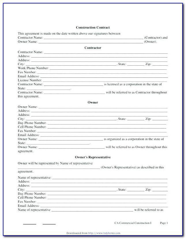 Contractors Contract Template Uk