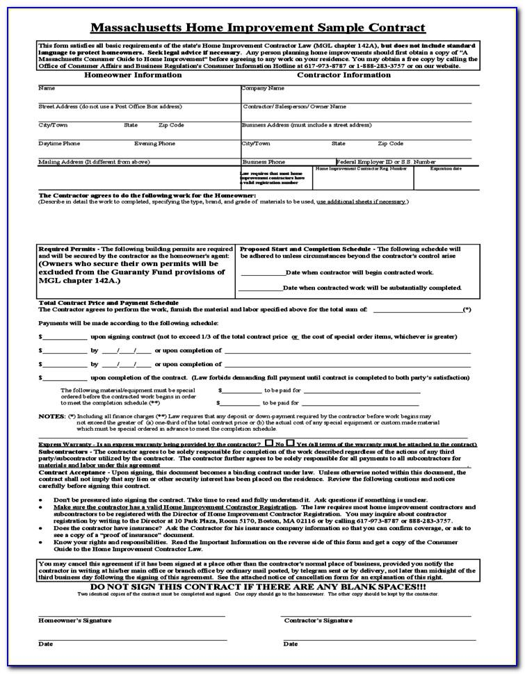 Ct Home Improvement Contract Template