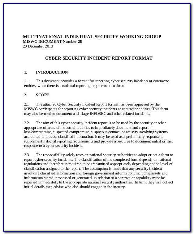Cyber Security Incident Investigation Report Template