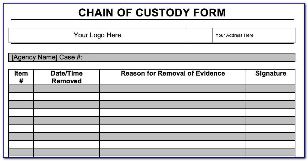 Digital Forensics Chain Of Custody Form Template