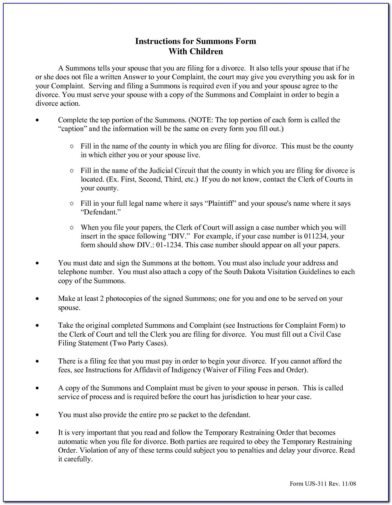Divorce Paper Template South Africa