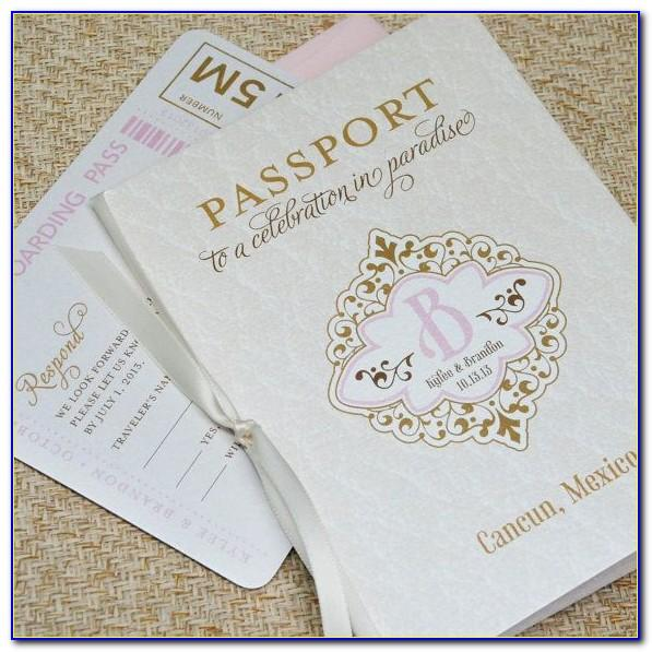 Diy Passport Wedding Invitation Template