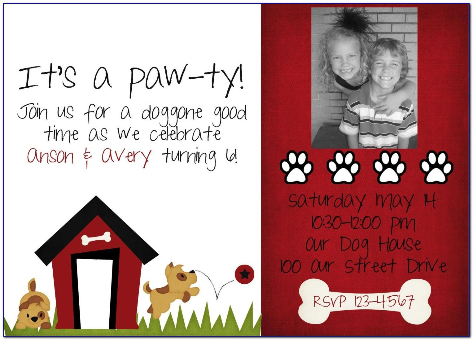 Dog Party Invitations Free Printable
