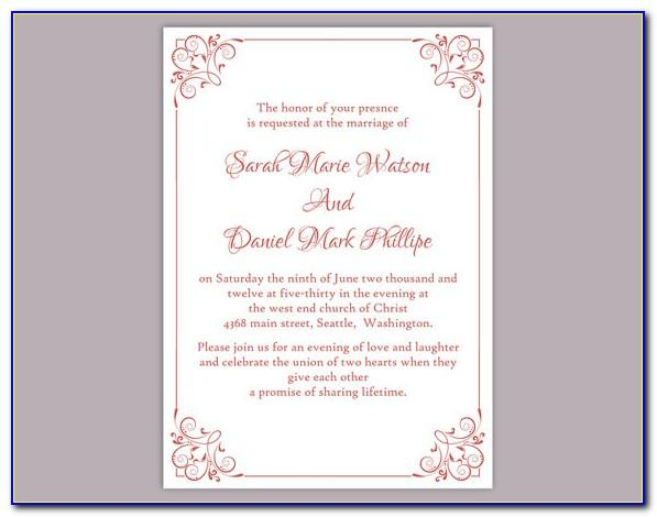Download Wedding Invitation Template Word