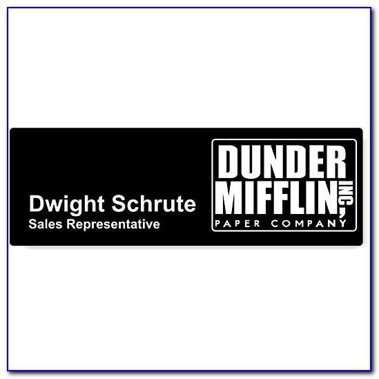 Dunder Mifflin Name Tag Template