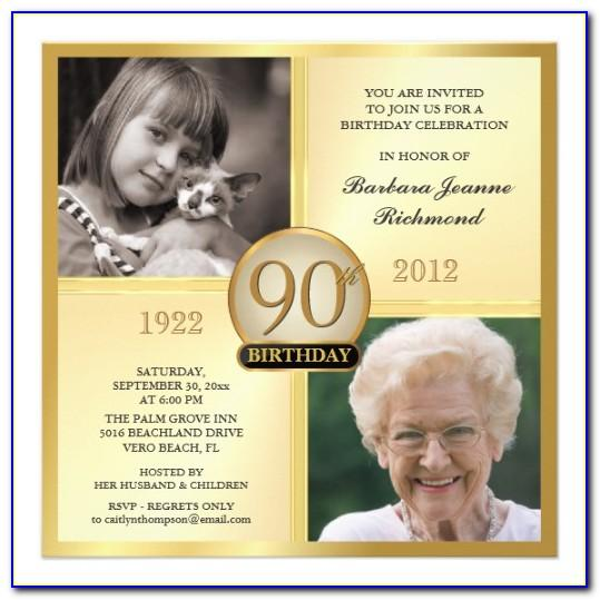 Editable 90th Birthday Invitations Templates Free