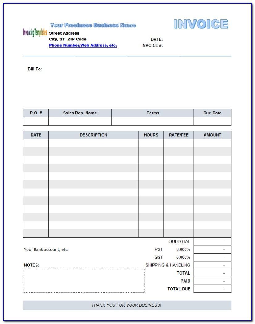 Editable Downloadable Invoice Template Pdf