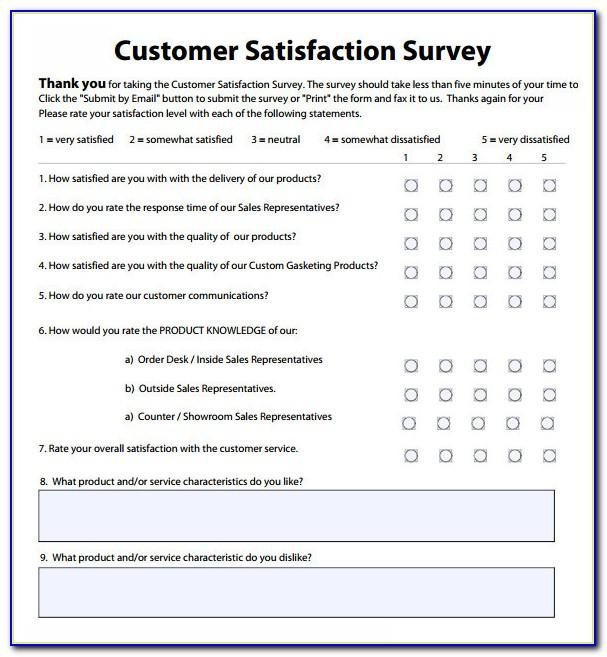 Employee Satisfaction Questionnaire Template Word