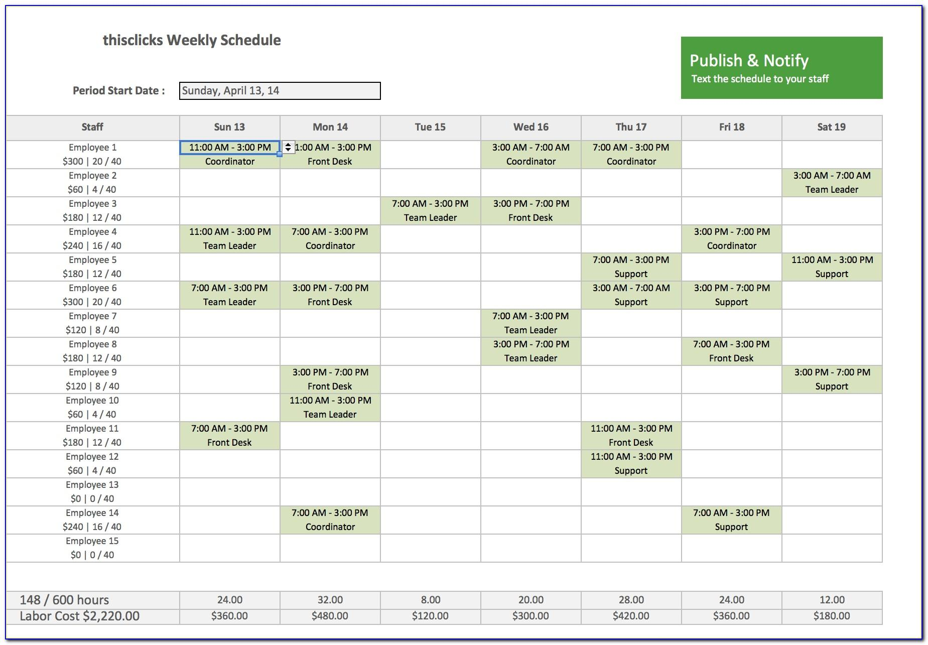 Employee Schedule Excel Templates