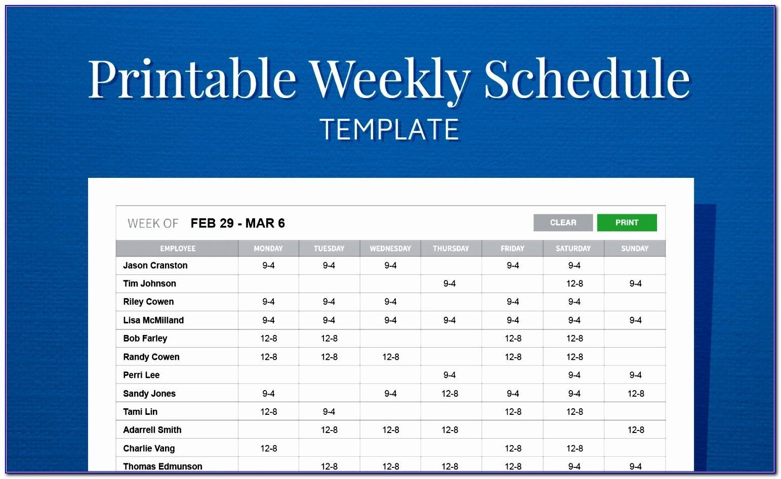 Employee Schedule Xls Template