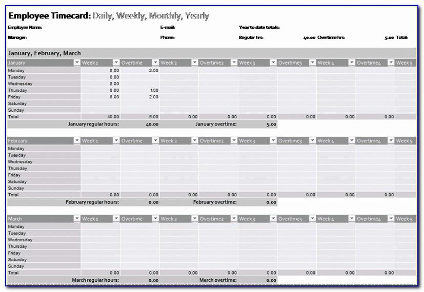 Employee Time Card Calculator Excel Template
