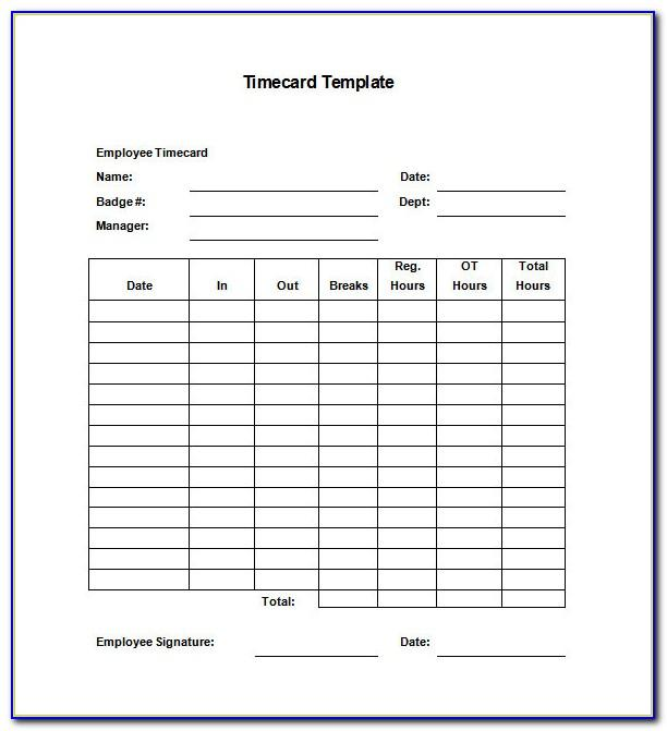 Employee Timecard Template Excel