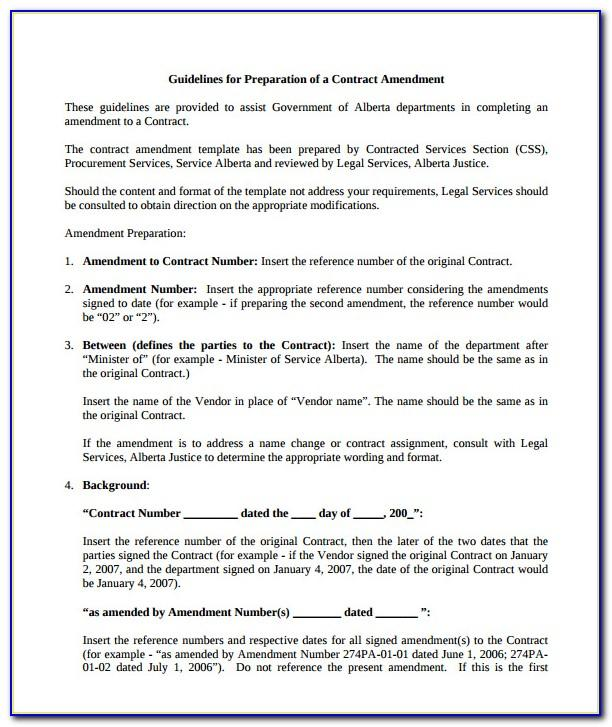 Employment Contract Amendment Template Australia