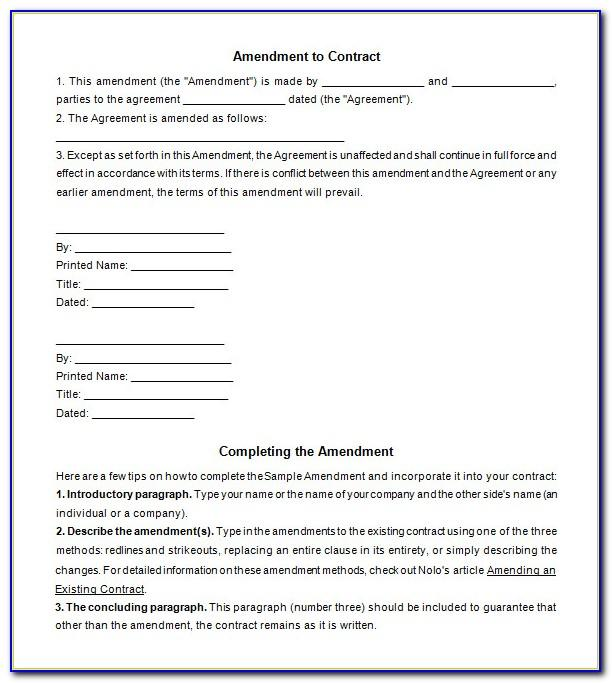 Employment Contract Amendment Template Word