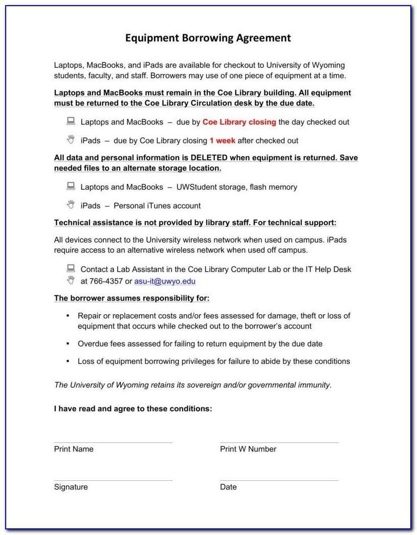 Equipment Loan Agreement Form