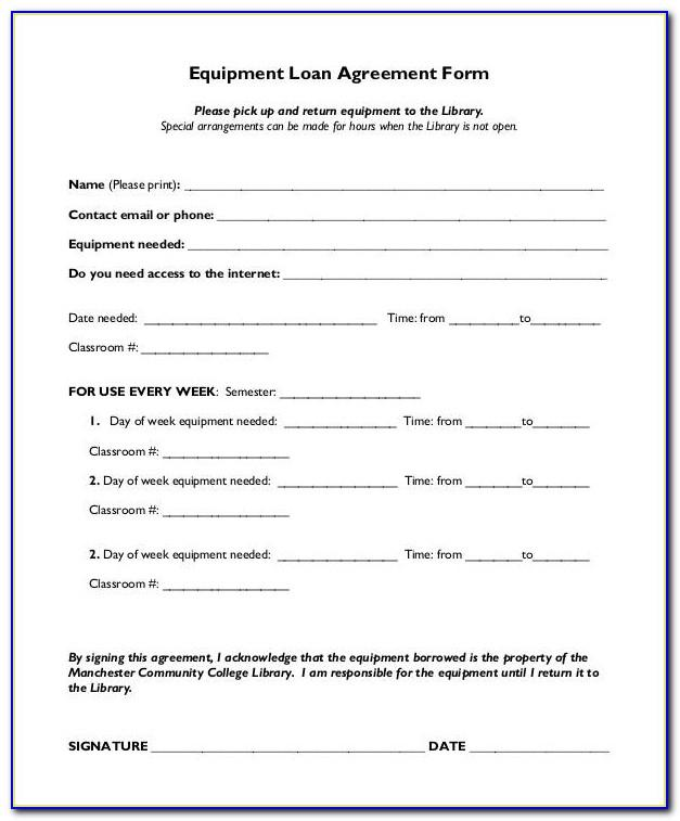 Equipment Loan Agreement Template Word