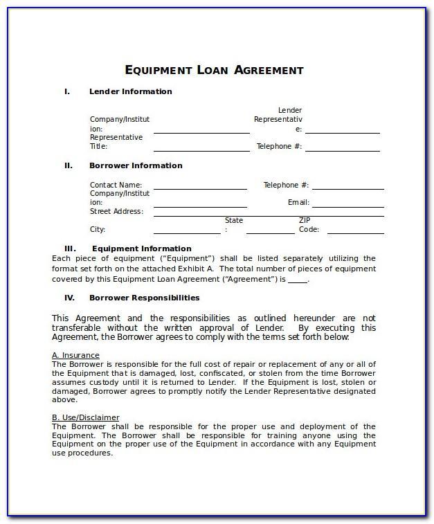 Equipment Loaner Agreement Template