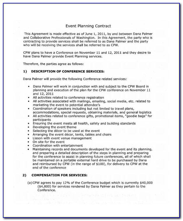 Event Organizer Contract Template