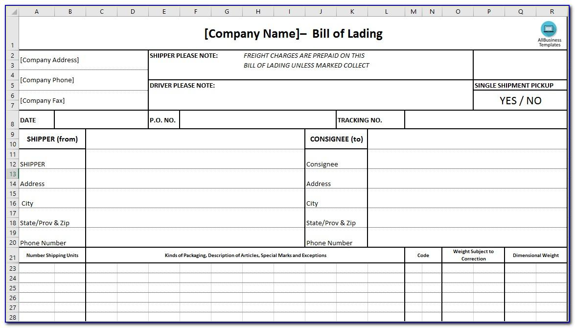 Example Bill Of Lading Number