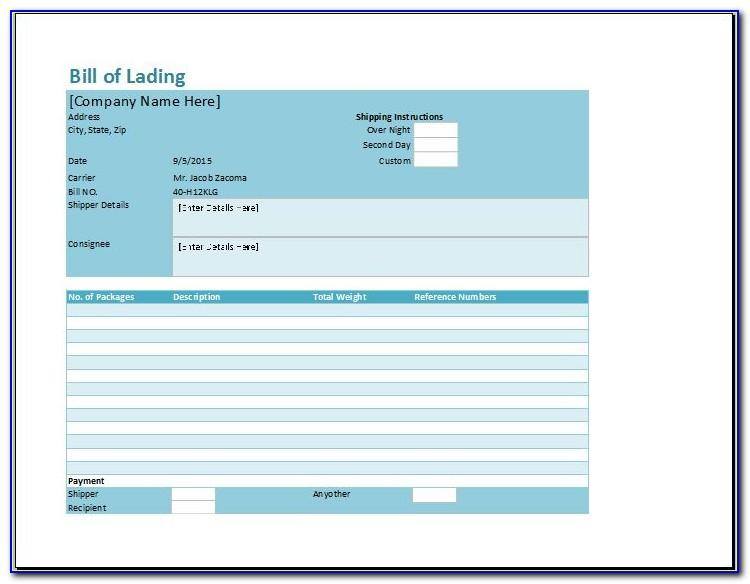 Example Bill Of Lading Pdf