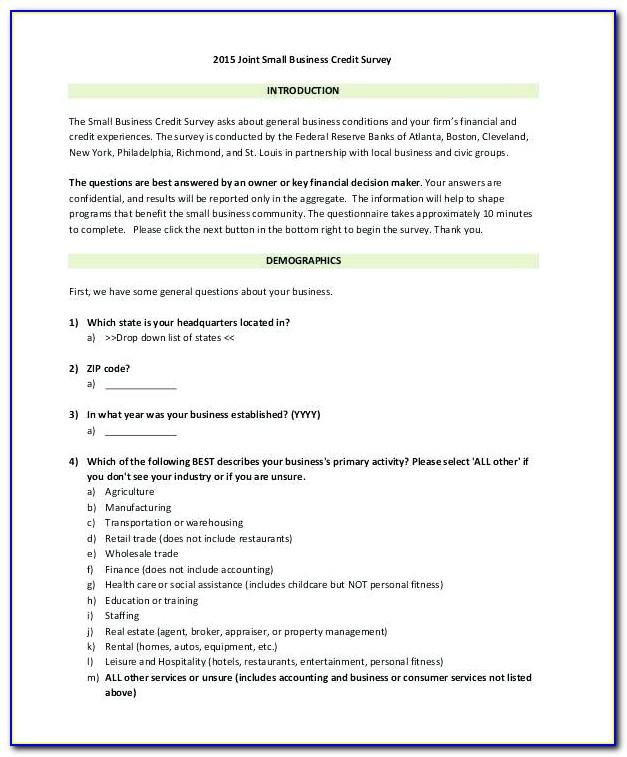 Example Of Survey Questionnaire For Feasibility Study