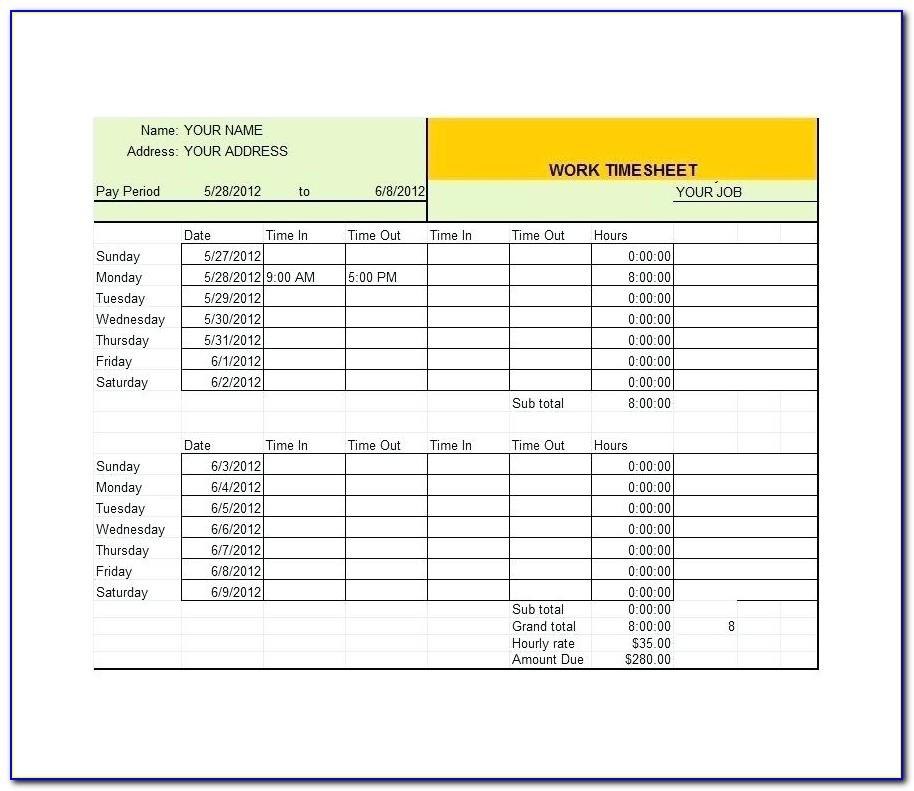 Excel 24 Hour Timesheet Template