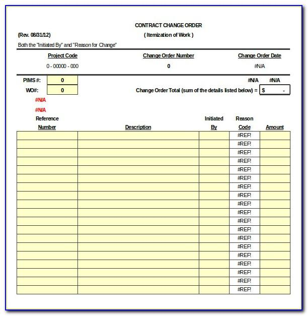 Excel Construction Change Order Template