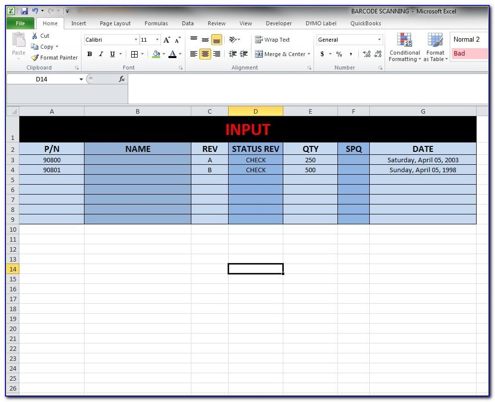 Excel Inventory Template Barcode Scanner