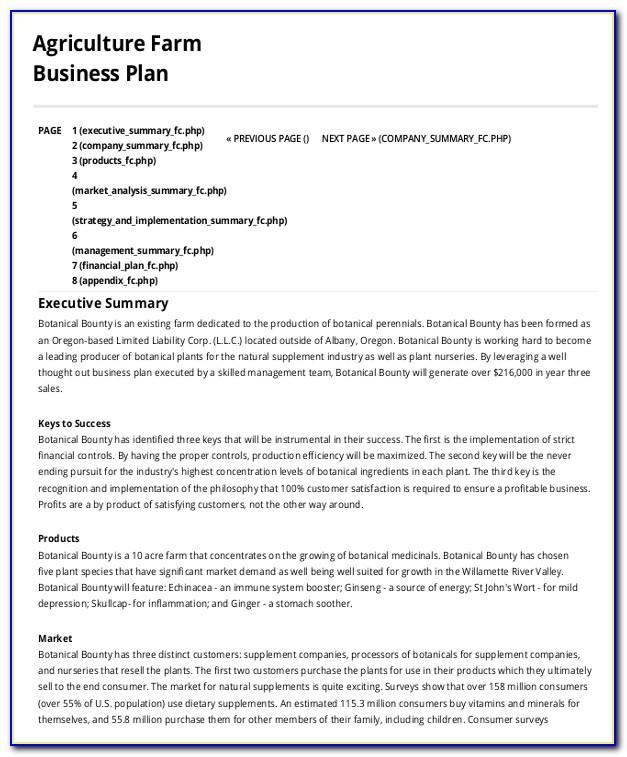 Farm Business Plan Sample Pdf