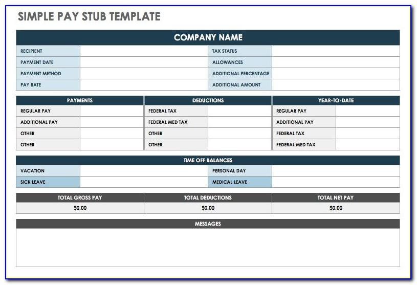 Fillable Printable Pay Stub Template Free