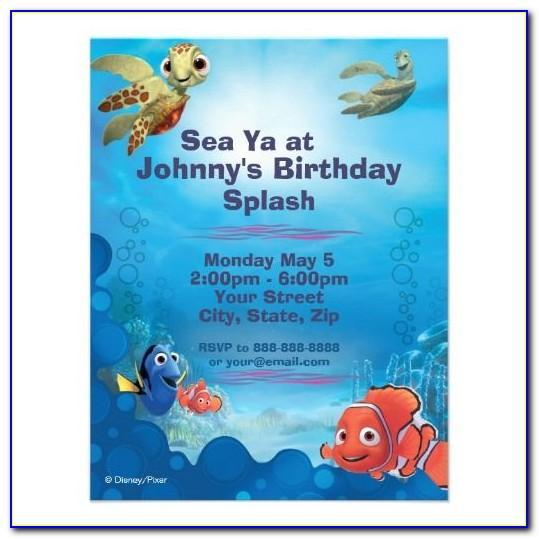 Finding Nemo Birthday Invitations Free Template