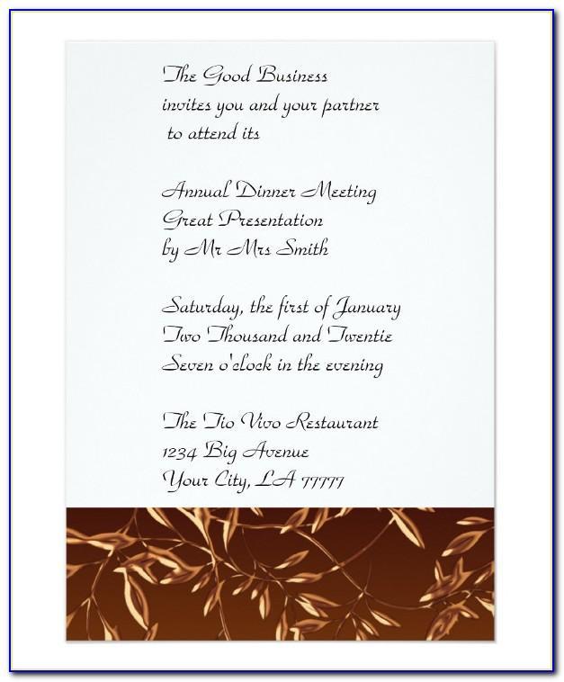 Formal Business Dinner Invitation Template