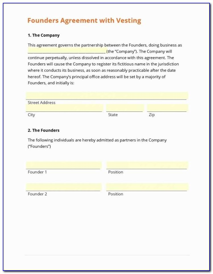 Founders Shareholder Agreement Template