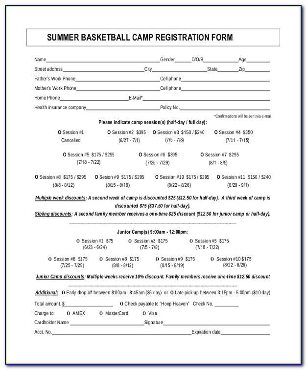Free Basketball Camp Registration Form Template