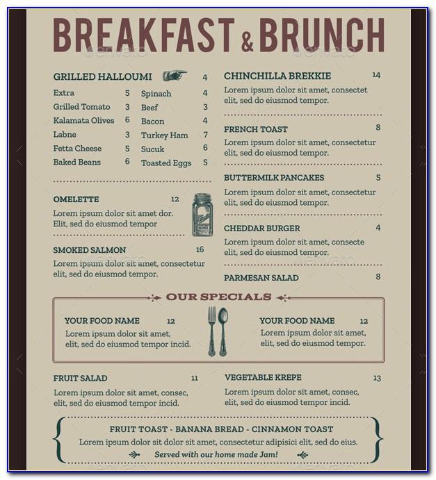 Free Blank Breakfast Menu Template