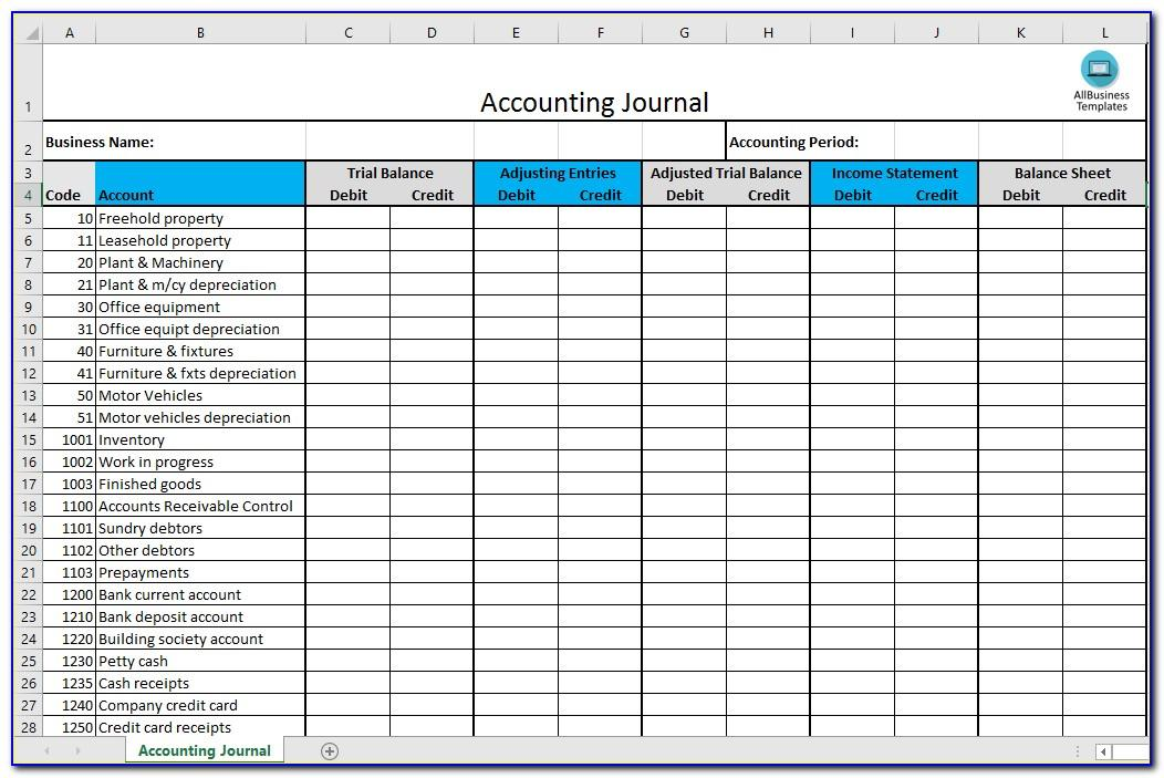 Free Bookkeeping Journal Template