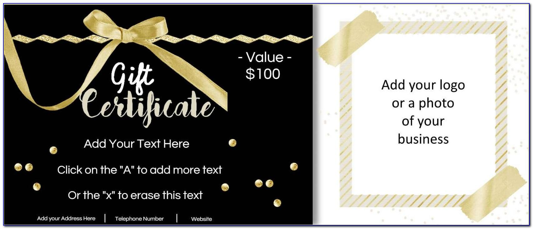 Free Business Gift Certificate Template With Logo