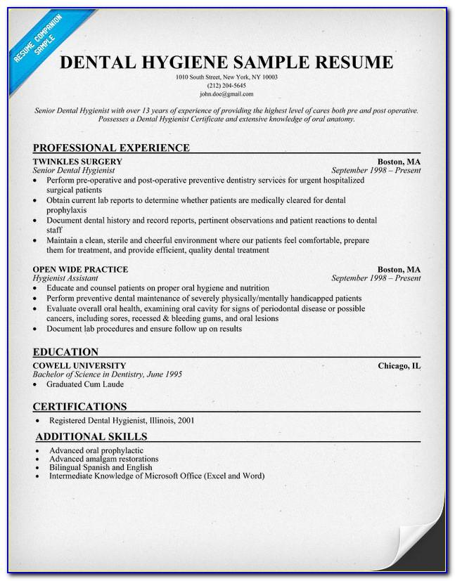 Free Dental Hygiene Resume Templates