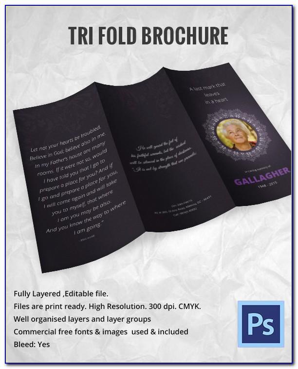 Free Editable Tri Fold Funeral Program Template