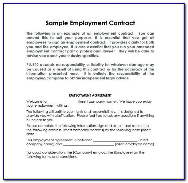 Free Employment Contract Template Word Uk