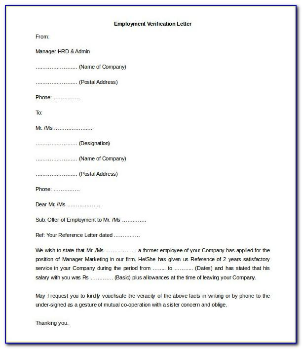 Free Employment Verification Letter Template Word