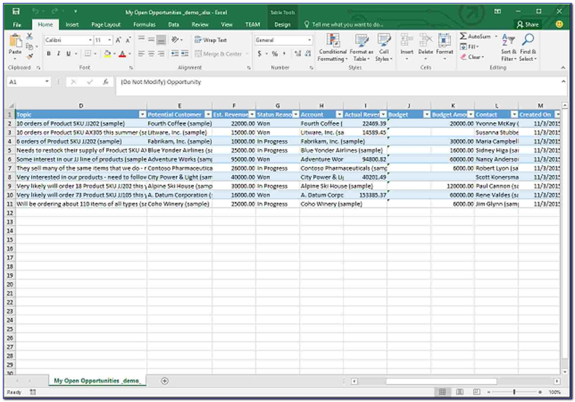 Free Excel Database Template Download